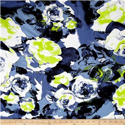 Designer Rayon Challis Abstract Brush Strokes Lime/Blue/White