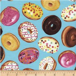Timeless Treasures Tossed Donuts Aqua