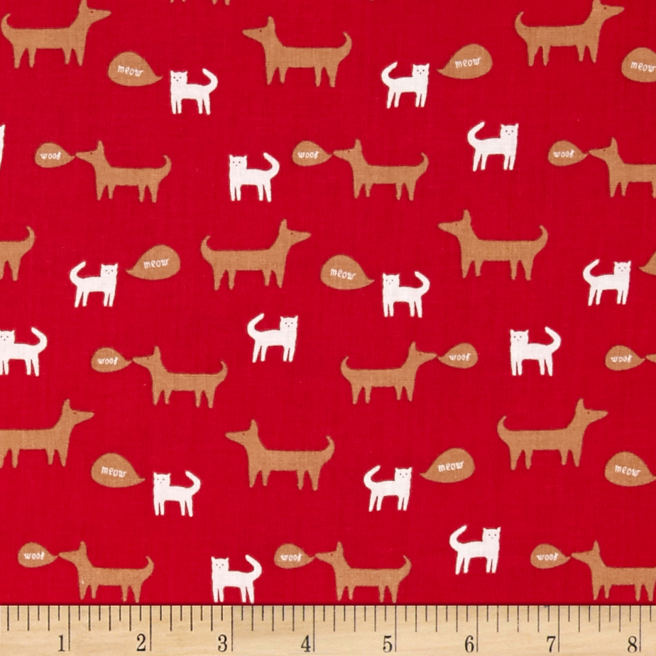 Neighborhood Cats and Dogs Red Fabric