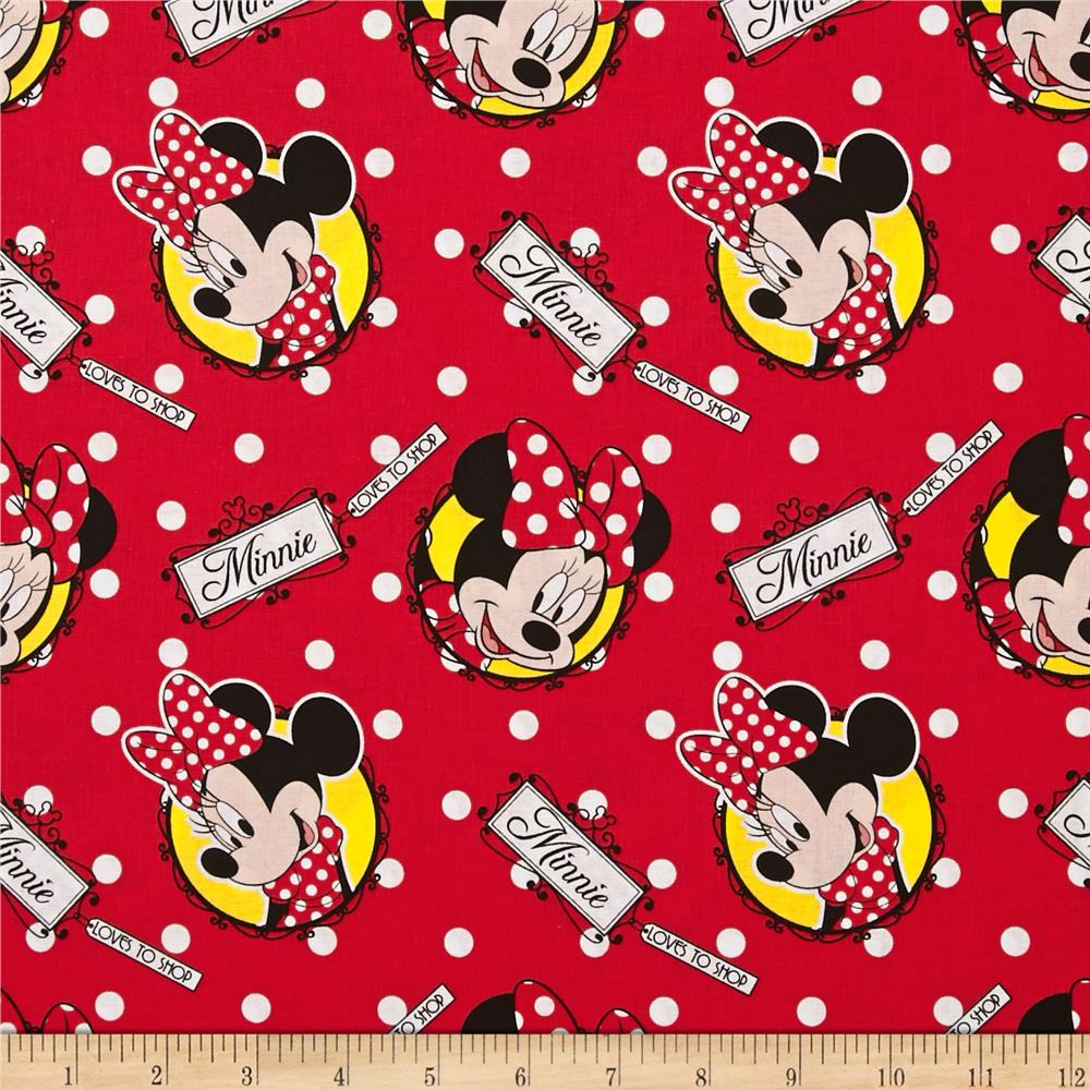 Disney Minnie Mouse Loves to Shop Tossed Badges Red