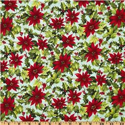 Moda Season's Greeting Poinsettia Ice Aqua