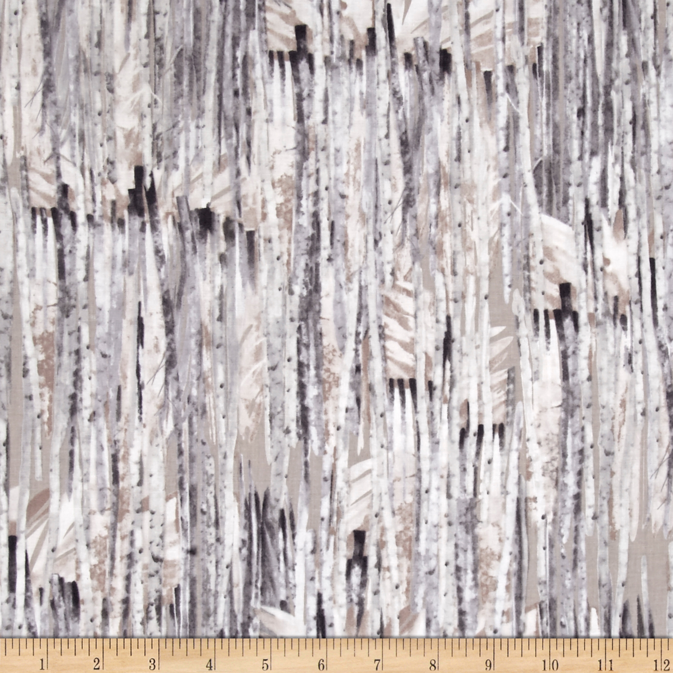 Kanvas Into The Woods Winter Birch Taupe Fabric