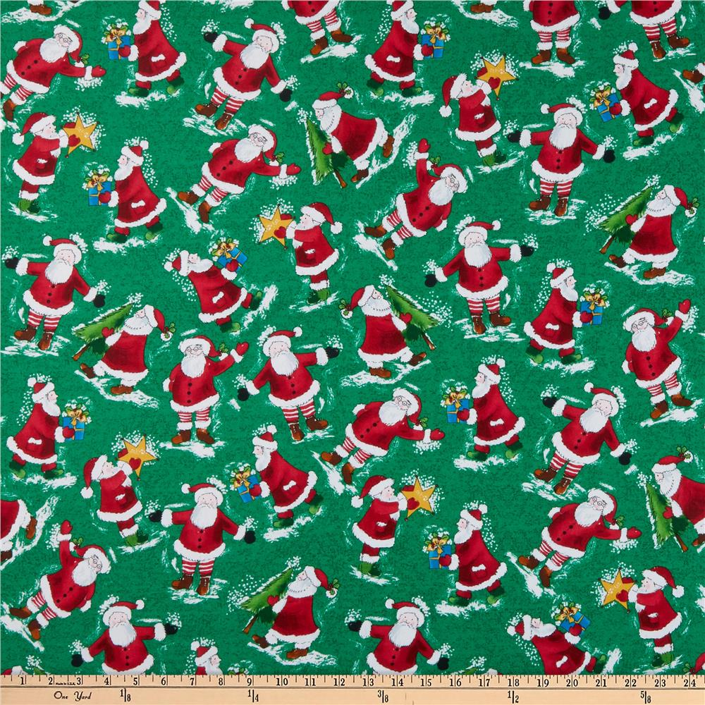 Holly Jolly Christmas.Windham Fabrics Holly Jolly Christmas Santa Green