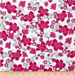 Printed Corduroy 21 Wale Ditzy Floral White/Pink