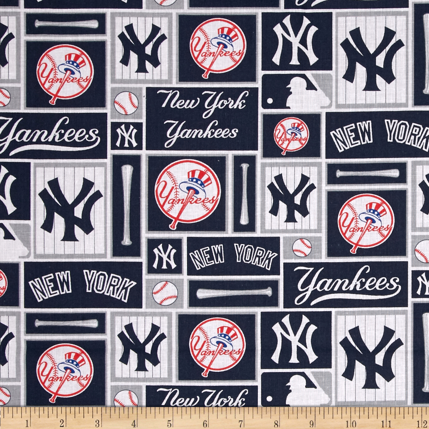 MLB Cotton Broadcloth New York Yankees Blue/White Fabric by Fabric Traditions in USA