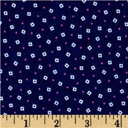 Fluffy Jungle Flannel Tiny Squares Navy Fabric