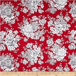 French Laundry Large Floral Red Fabric