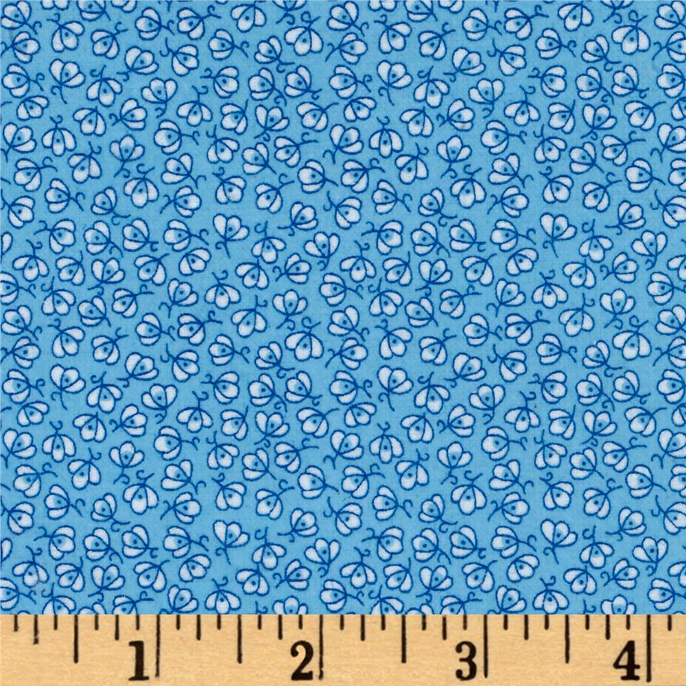 Storybook Flannel Pretty Poppies Blue Fabric