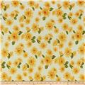 Double Brushed Poly Jersey Knit Sunflowers Yellow