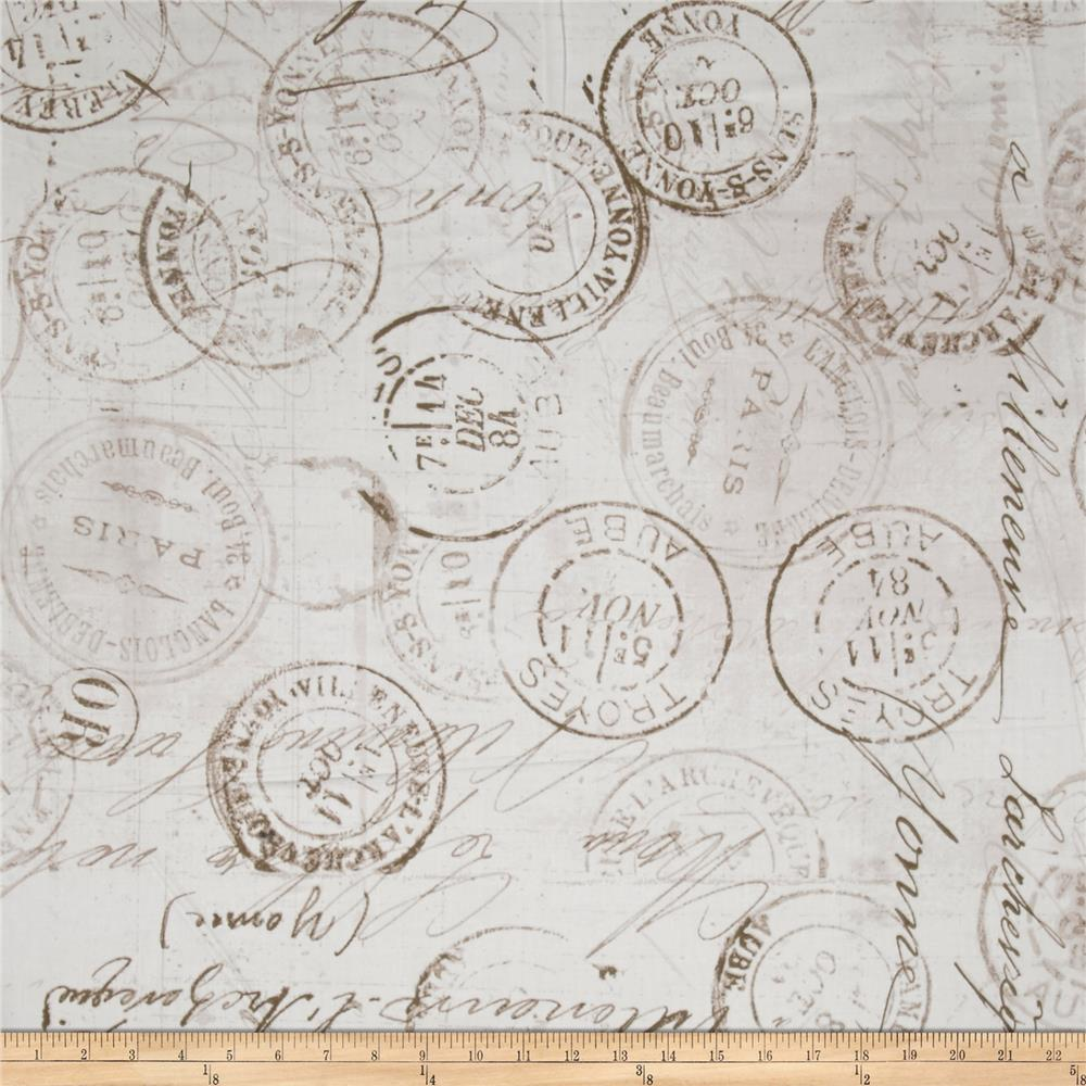 """Tim Holtz Eclectic Elements 108"""" Quilt Backing Correspondence Taupe"""