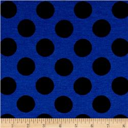 Rayon Jersey Knit Black Polka Dots Passion Blue