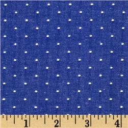Cotton Chambray Dots Royal