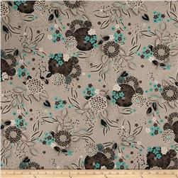 French Designer Textured Cotton Poly Poplin Floral Taupe/Black/Green