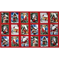 Winter Cardinals Bird Houses Panel Multi Fabric