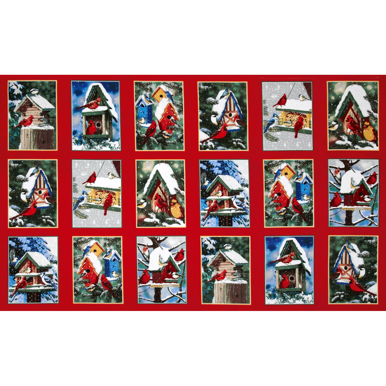 Winter Cardinals Bird Houses Panel Multi