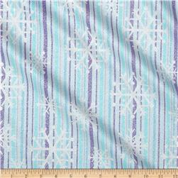 Michael Miller Winter Frost Snowflake Stripe Blue