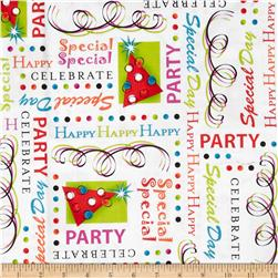 Party On! Celebration Words White