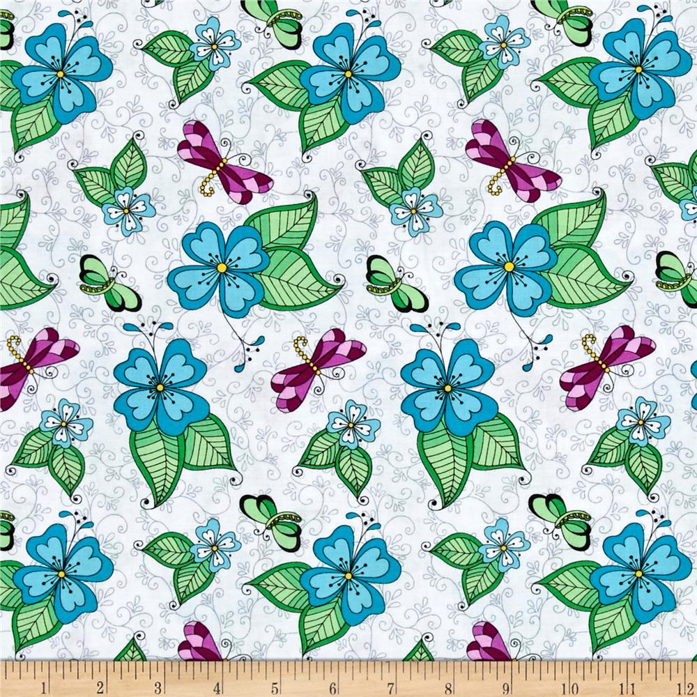 Day Of The Dragonfly Med. Floral With Butterfly & Dragonfly White