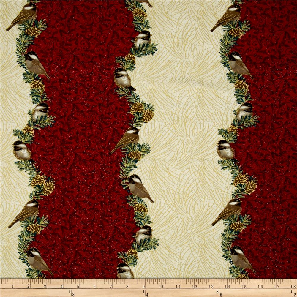 Chickadees & Berries Metallic Chickadee Split Stripe Red