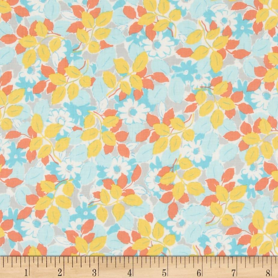 Kaufman London Calling Lawn Flowers & Leaves Aqua