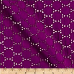 Cotton Eyelet Circles Purple
