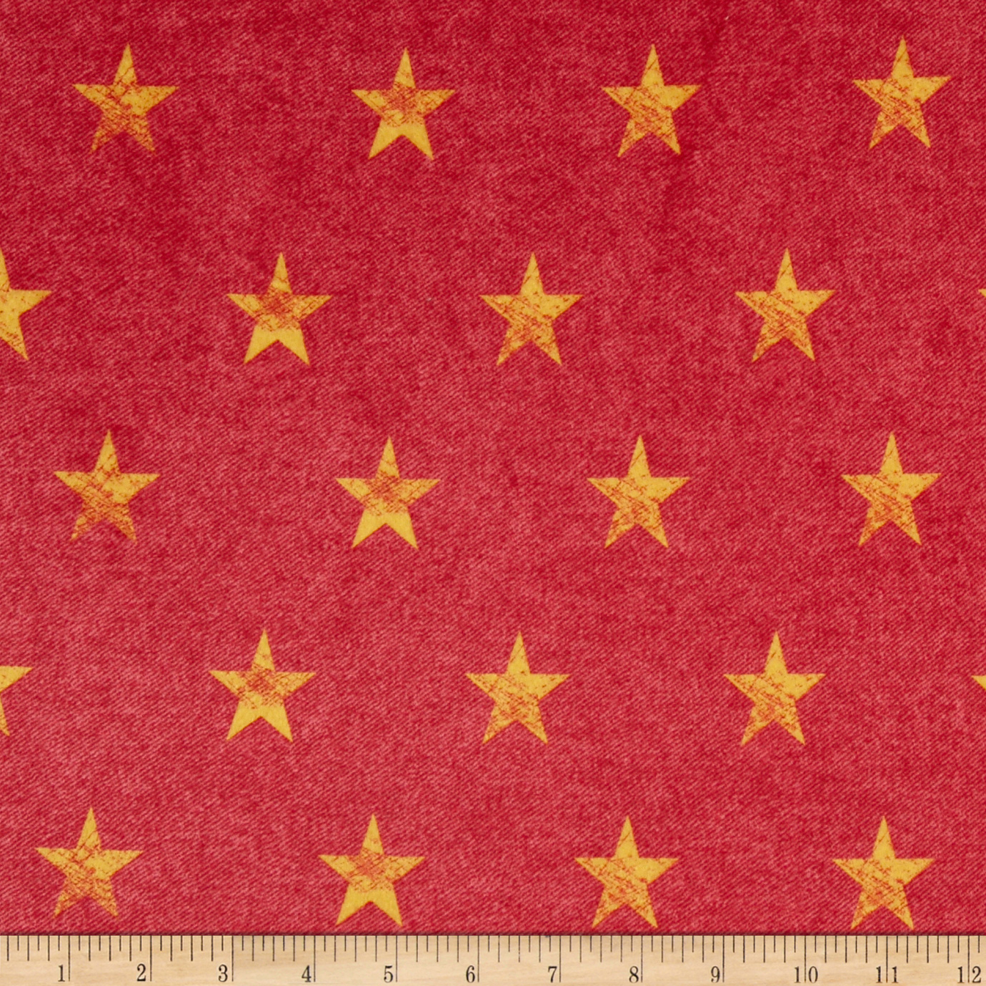 Minky Stars Red Denim/Yellow Fabric