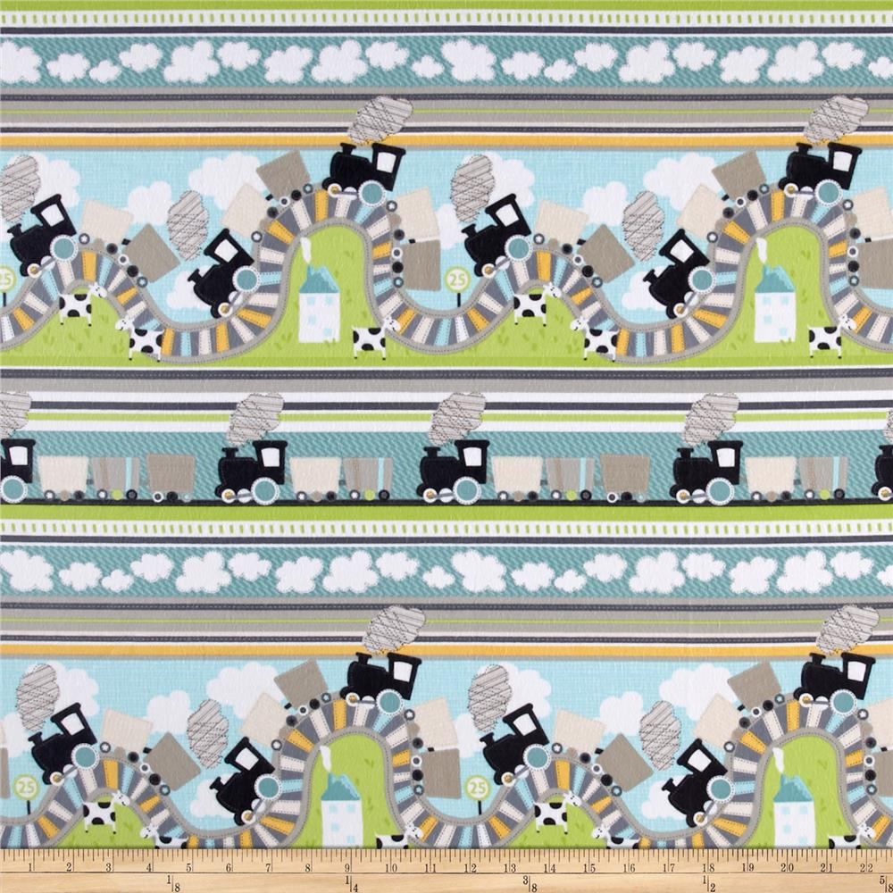 Kanvas All Aboard Train Ride Flannel Multi Fabric By The Yard