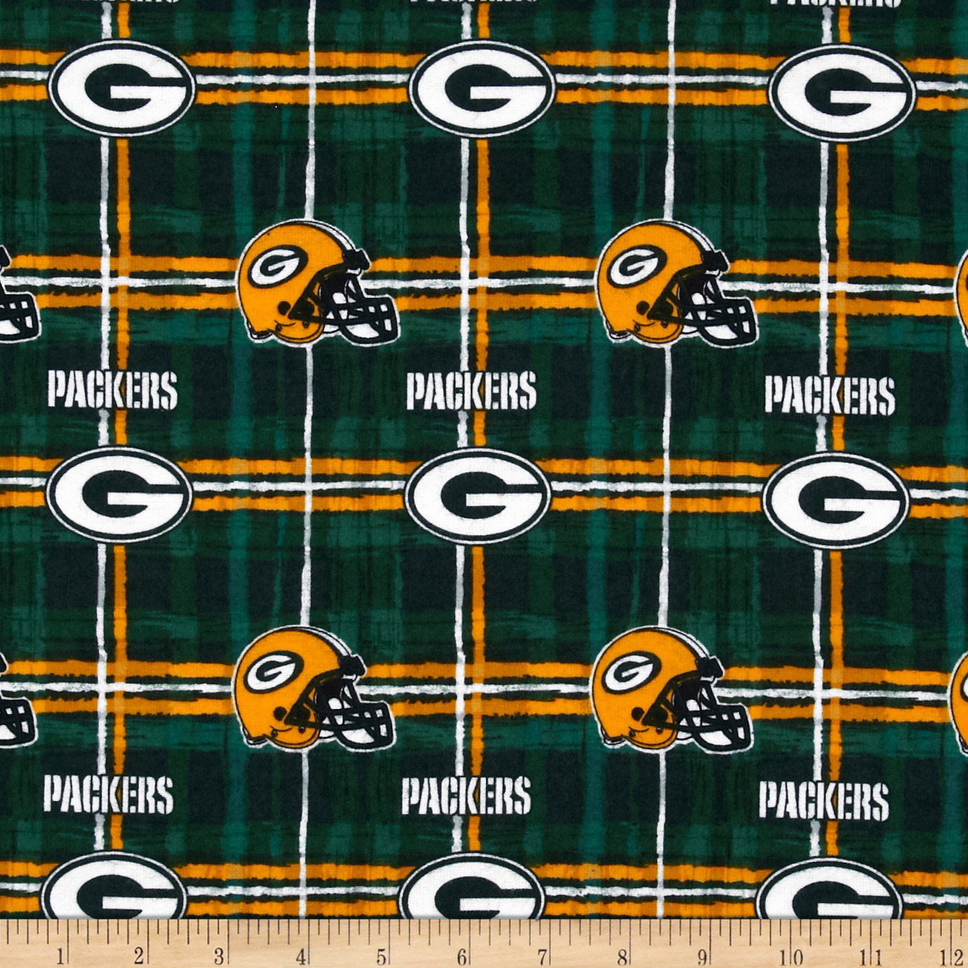 NFL Flannel Green Bay Packers Green/Yellow Fabric