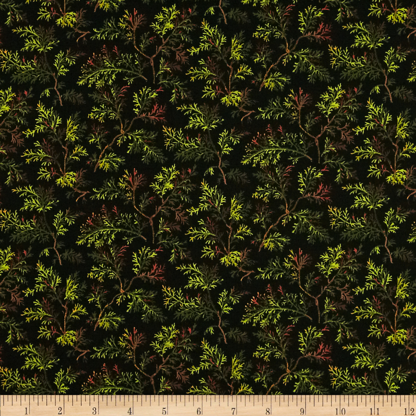 Timeless Treasures Cabin Tossed Sprigs Black Fabric