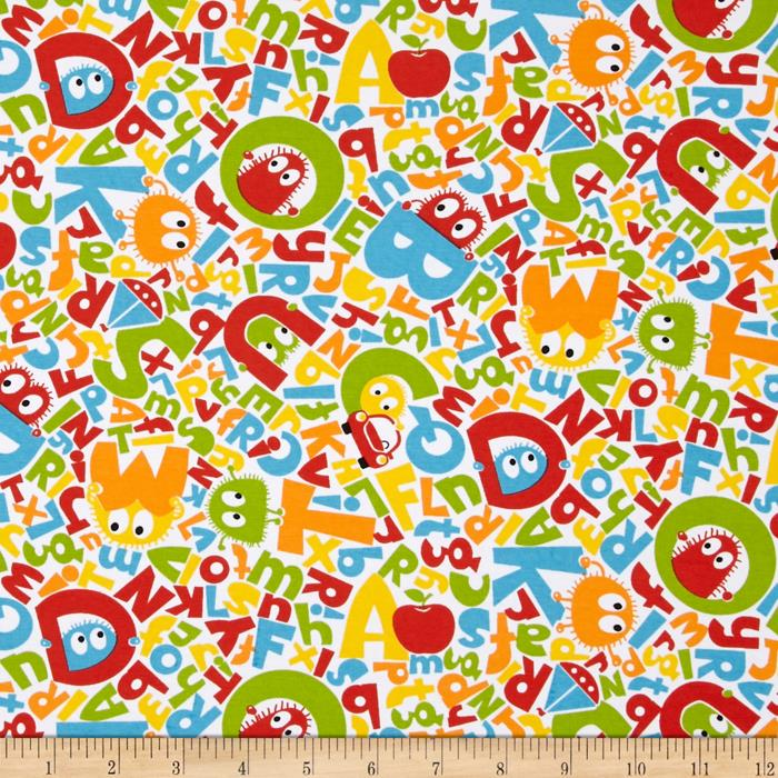 ABC Ooga Booga Stretch Cotton Jersey Knit Multi Fabric By The Yard
