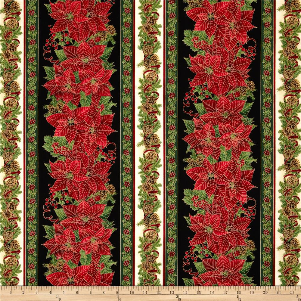 Timeless Treasures Comfort & Joy Metallic Christmas Border Red