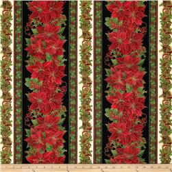 Timeless Treasures Pine & Poinsettia Metallic Christmas Border Black