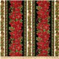 Timeless Treasures Comfort & Joy Metallic Christmas Border Black