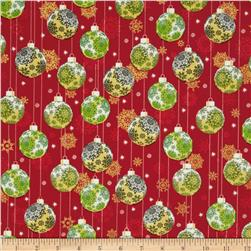 Season's Greetings 2013 Ornaments Green/Red