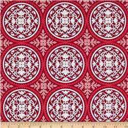 Joel Dewberry True Colors Scrollwork Deep Pink Fabric