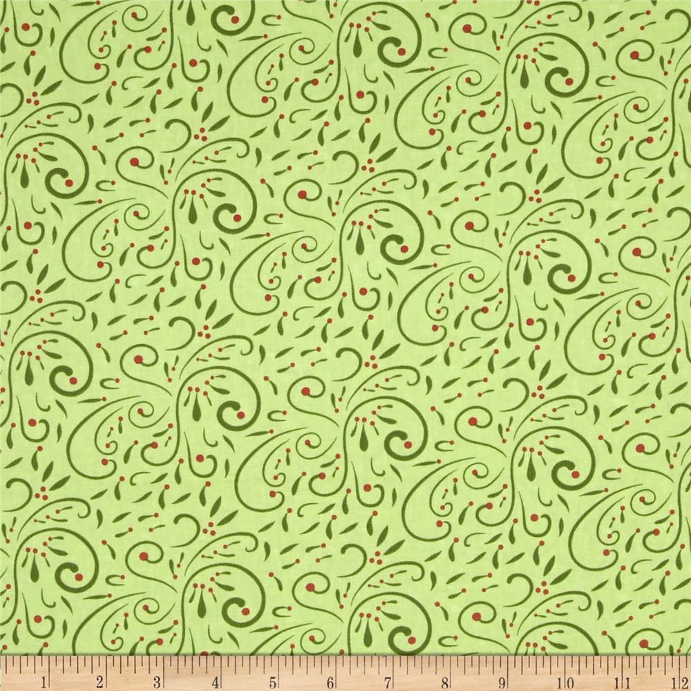 Moda Very Merry Scroll Light Green
