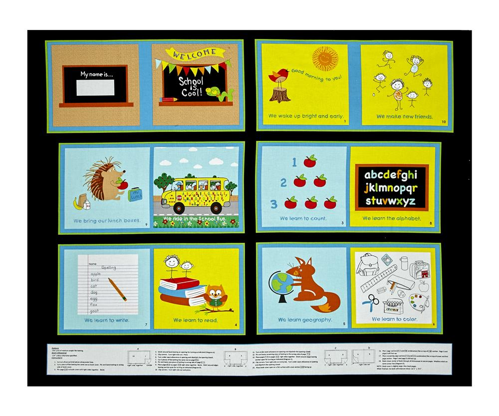 School Rules! 35'' Book Panel Fabric