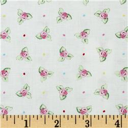 Afternoon Delight Small Flower Toss White Fabric