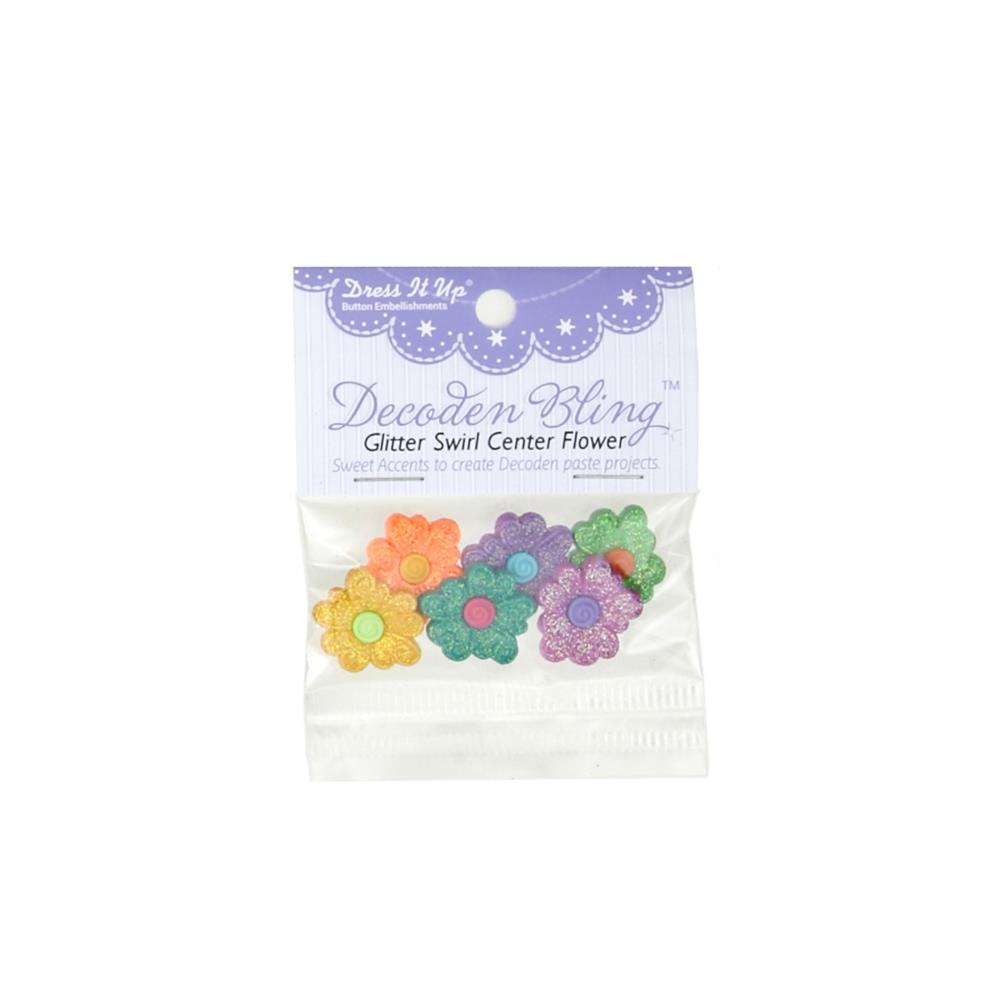 Dress It Up Embellishment Buttons Glitter Swirl Center Flower
