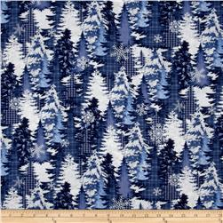 Alpine Woods Winter Trees Blue