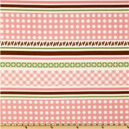 Sew Cherry Border Stripe Pink