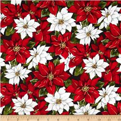 Woodland Christmas Poinsettia Red/White