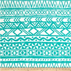 Poly Spandex ITY Knit Tribal Blue/White