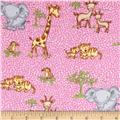Comfy Flannel Safari Animals Pink