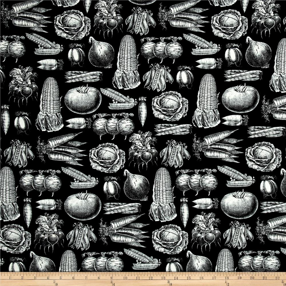 Farm To Table Vegetable Etchings Black