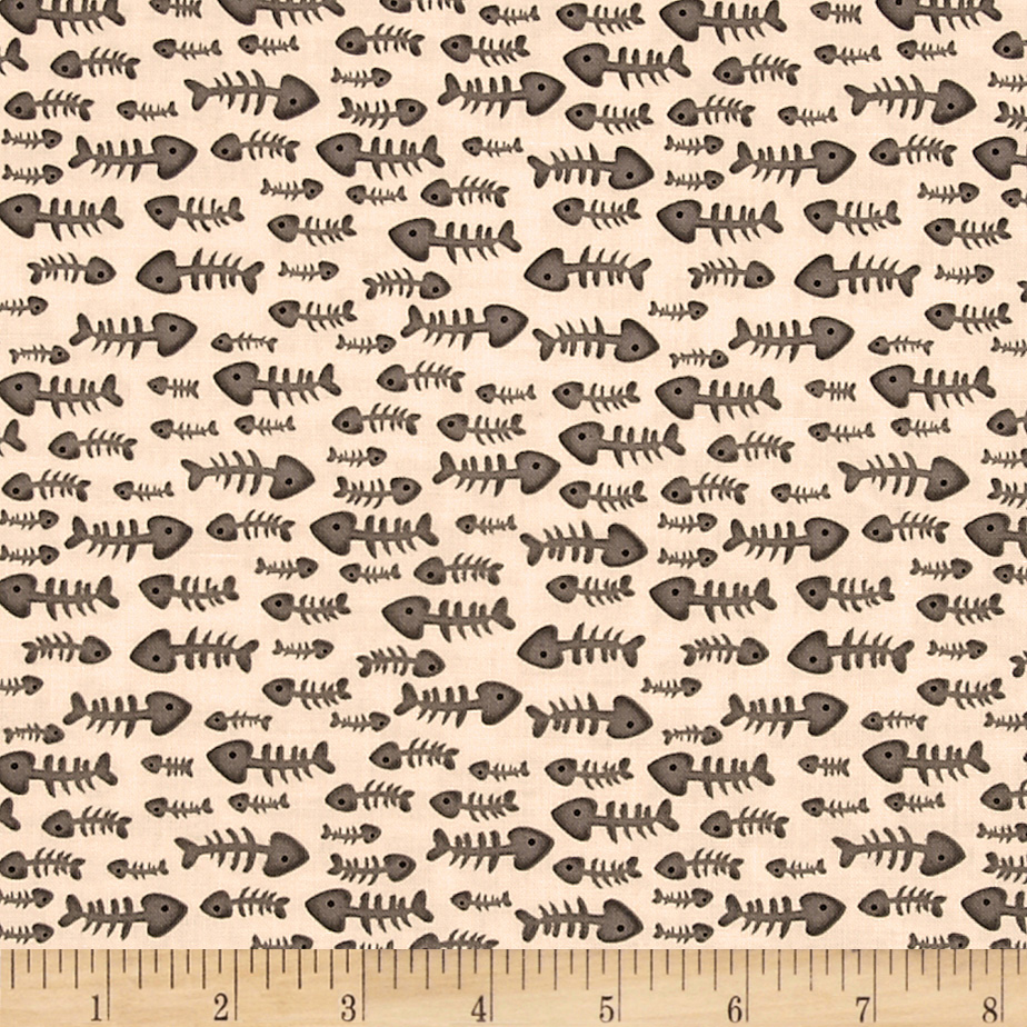 Kanvas Alley Cat Fish Bones Cream Fabric
