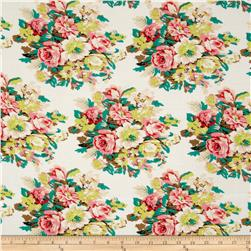 Rayon Challis Floral Ivory/Coral