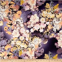 Telio Digital Printed Linen Floral Purple/Yellow