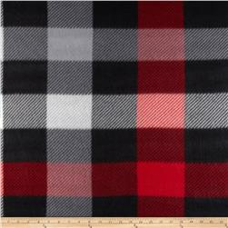 Fleece Print Squares Red