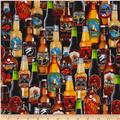 Timeless Treasures Happy Hour Stacked Beer Bottles Multi